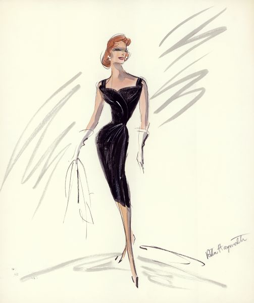 "Black cocktail dress, designed by Edith Head for Rita Hayworth in the film ""Separate Tables"" (1958, United Artists)."