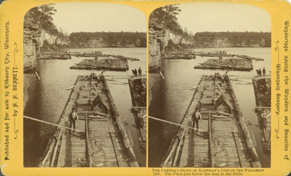 Stereograph view of several groups of men on rafts loaded with felled trees.