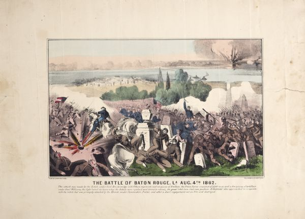A large color lithograph with caption of the battle in progress.