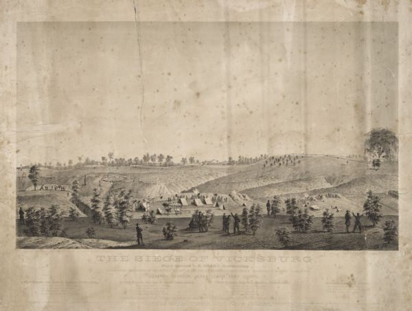 A large lithograph showing the landscape, camps and bombardment.