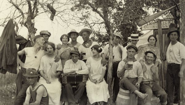 "Group of people known as the ""Moonlight Outing Club"" at Muskego Lake."
