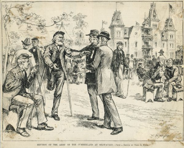 A drawing of the reunion of the Army of the Cumberland at Milwaukee. National Soldiers Home is visible in the background.