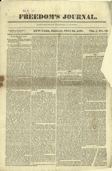 "Front page of ""Freedom's Journal"", Volume 1, #15."