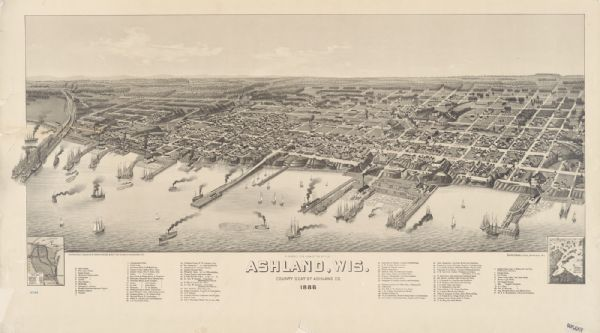 Bird's-eye view of Ashland, on the shores of Lake Superior, with insets of The Apostle Islands Chequamagon Bay & Ashland, and Distances from Ashland.