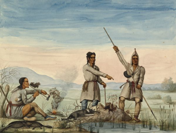 Indians of the North Red River area, probably in the vicinity of old Fort Douglas, now Winnipeg, Canada, spearing beaver.