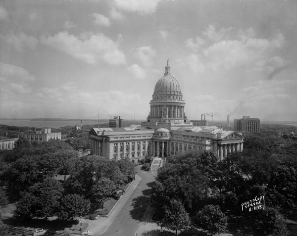 Elevated view of the Wisconsin State Capitol from the roof of the Loraine Hotel.