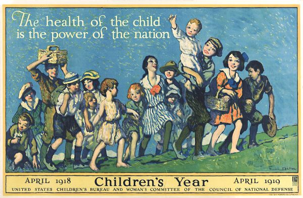 "A group of children walking up a grassy hill together, with text that reads: ""The health of the child is the power of the nation,"" and ""Children's Year."" Created for the United States Children's Bureau and Woman's Committee of the Council of National Defense."