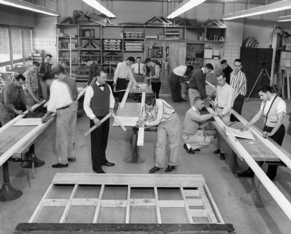 Structural Technology students work in a carpentry class at the Milwaukee School of Technology.