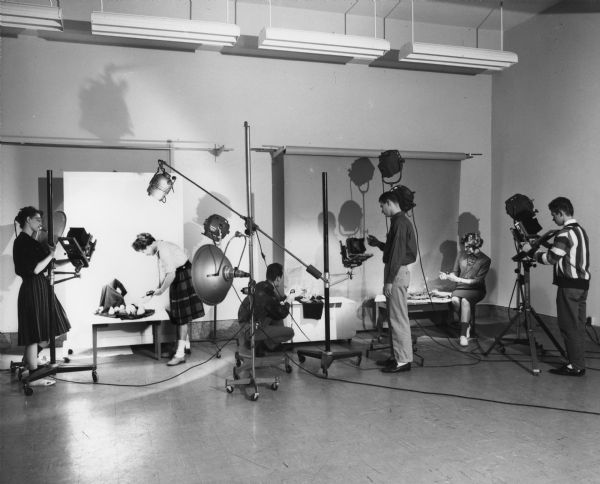 Students work in a studio on their individual projects for a photography class at the Milwaukee Institute of Technology.