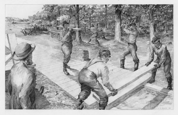 Men building a plank road drawing wisconsin historical