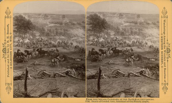 "Stereograph from the Chicago Panorama of the Battle of Gettysburg Representing Pickett's Charge at 4 P.M., July 3rd, 1863: Death of Confederate General Armistead at the Bloody Angle, a section of an oil painting of the Cyclorama of Gettysburg by French artist Paul Dominique Philippoteaux. From Bennett's series ""Wanderings Among the Wonders and Beauties of Western Scenery."""