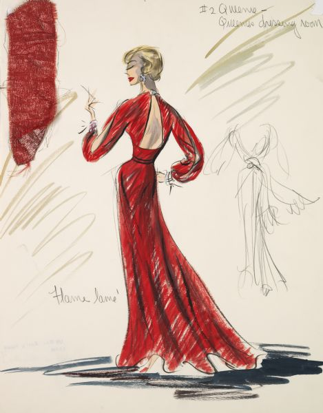 "An Edith Head costume design for a red lame' open-back gown for the character Queenie (Hope Lange) in ""Pocket Full of Miracles"". This image includes a fabric swatch."