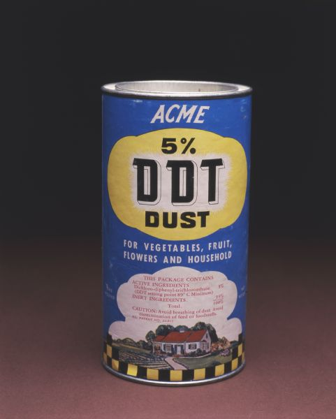 Container of Acme 5% DDT Dust for vegetables, fruit, flowers and household.