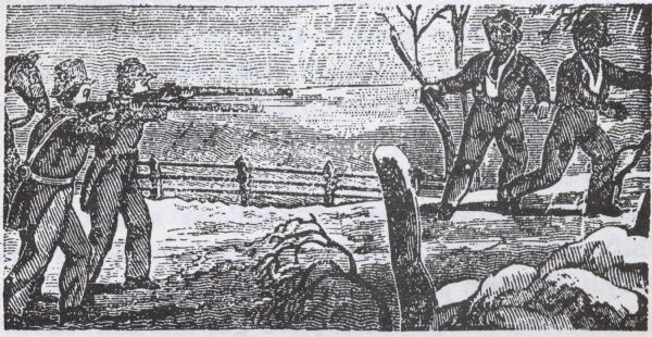 Drawing of two slave catchers pointing guns at two runaway slaves.
