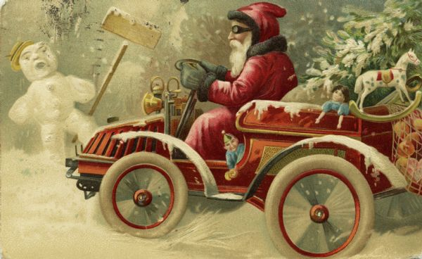 Embossed postcard with a drawing of Santa Claus wearing driving goggles and driving an automobile. A Christmas tree and several toys are loaded in the back of the car. A startled snow man holding a shovel leaps out of the way of the jolly old elf's vehicle as it speeds through the snow. Chromolithograph and embossed.