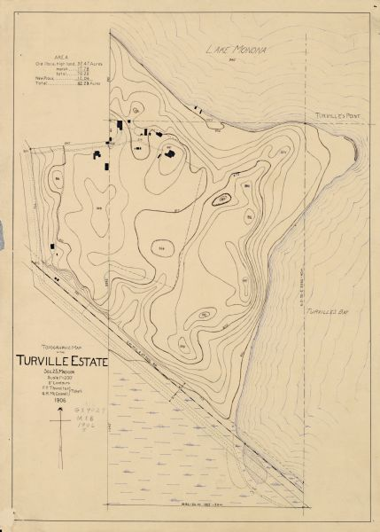 Hand-drawn topographical map of the Turville Estate.