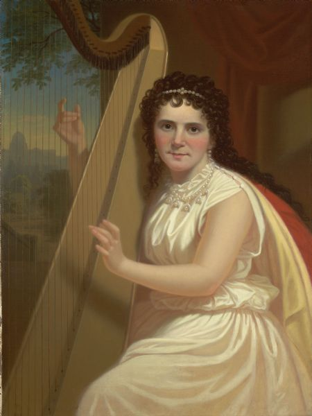 Portrait of Vinnie Ream Hoxie with a harp.