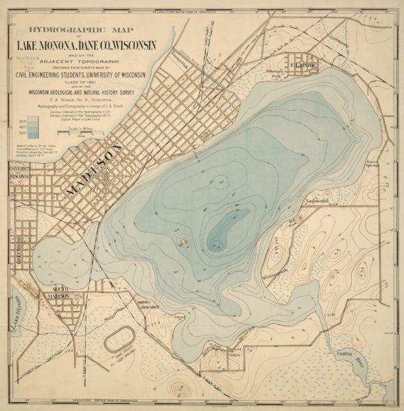 A hydrographic map of Lake Monona and the adjacent topography.
