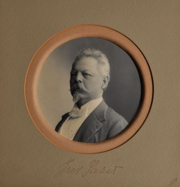 "Embossed photograph (platinum print) of Fred Pabst. ""Pabst, Frederick (Mar. 28, 1836-Jan. 1, 1904), brewer, business executive, b. Thuringia, Germany. He migrated with his parents to the U.S. and to Milwaukee in 1848, worked for a time as a cook in Chicago and later became captain and part owner of one of the Great Lakes ships of the Goodrich Lines. In Milwaukee, Pabst met the prominent brewer, Phillip Best, soon married Best's daughter Maria, and invested his savings in his father-in-law's brewing business. After Phillip Best retired, Pabst became co-manager of the company with Emil Schandein, and together they built it into one of the largest enterprises of its kind in the nation. Schandein handled the production end of the business, while Pabst traveled extensively, utilizing his personality and salesmanship to promote a nation-wide market by making beer synonymous with fashionable people and places. Eventually 40 or 50 distributing branches were established, with Chicago leading in sales, and the export volume of the company for a time was nearly one-third of U.S. export sales. In 1873 Pabst became president of the company, and in 1889 the firm name was changed to The Pabst Brewing Co. Pabst was also prominent in Milwaukee civic affairs, and was noted for the establishment of the Pabst Theater."" (State Historical Society of Wisconsin, Dictionary of Wisconsin Biography, 1960, p. 276.)"