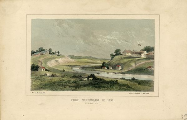 "Drawing of Fort Winnebago (near present-day Portage) that illustrated  ""Wau-Bun,"" Juliette Kinzie's memoir of her experiences on the early Wisconsin frontier. Mrs. Kinzie arrived at Fort Winnebago in 1830 with her husband, Indian agent John Kinzie, and they lived there until 1833 when he resigned. Her drawing is meant to represent the fort after the construction of the Indian Agency House on the hill to the left of the Fox River. The house was planned in 1831 and completed in 1832. In the 1930's the house was restored. The project was begun by the Wisconsin Federation of Women's Clubs and after a year the project was taken over by the Colonial Dames of America Society of Wisconsin.  ""Wau-bun,"" published in 1857, is still regarded as a classic account of Wisconsin history."