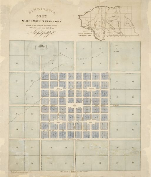 "Plat for a proposed Sinsinawa City (never built), in Grant County, Wis. When it became clear in the mid-1830s that Wisconsin Territory would be established, developers vied with one another for sites to be chosen the territorial capital. George Wallace Jones (1804-1896) had settled near Sinsinawa Mound in 1827 to engage in lead mining. He served as a delegate to Congress from Michigan Territory in 1835-1836 and was instrumental in passing the legislation that established Wisconsin Territory. Beneath the small vignette of a State Capitol at the upper left of this map is the signature, ""B. Chambers, W. City."" Benjamin Chambers (1791-1871) was an engraver in Washington, D.C., during the first half of the 19th century who performed much work for the U.S. government. This map is presumably Jones's contribution to the debate about where a capital for Wisconsin Territory should be located. At the time, the territory would have included modern Iowa and Minnesota, making Sinsinawa a central location. This is one of many plats for paper cities that were never built."