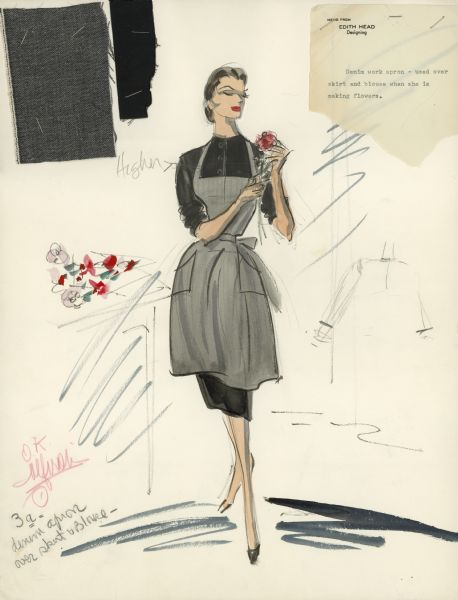 "Edith Head costume sketch for Sophia Loren's character Rose Bianco in the film ""Black Orchid."" The costume is a denim work apron worn over a skirt and blouse while making flowers. The sketch includes fabric samples."