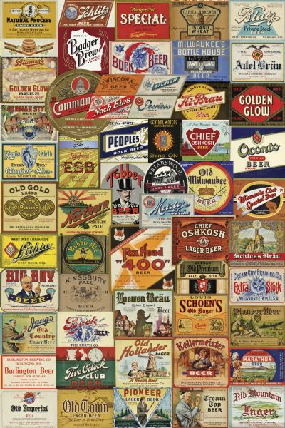 Composite of beer labels in the Wisconsin Historical Images collection.