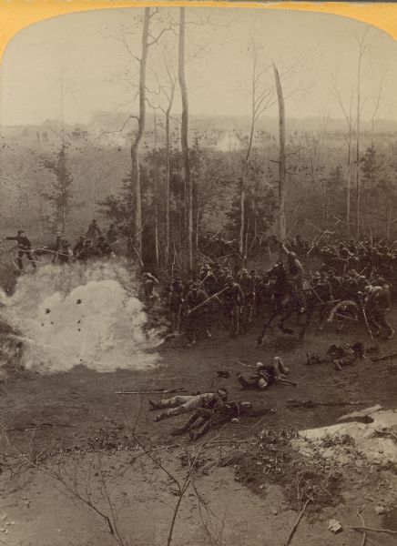 "A stereograph view of a cyclorama of the Battle of Shiloh. Caption on stereograph reads, ""1st Arkansas confederate. Inf. in the 'Hornets Nest.'"""