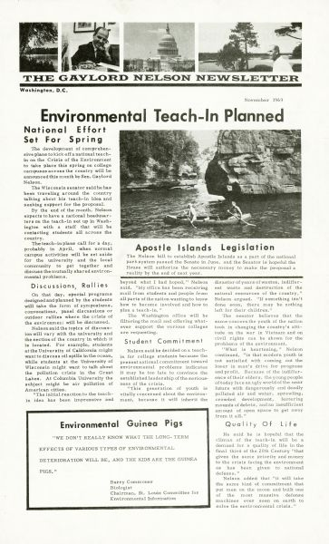 "The front page of The Gaylord Nelson Newsletter published in November of 1969. The featured story is ""Environmental Teach-In Planned."""