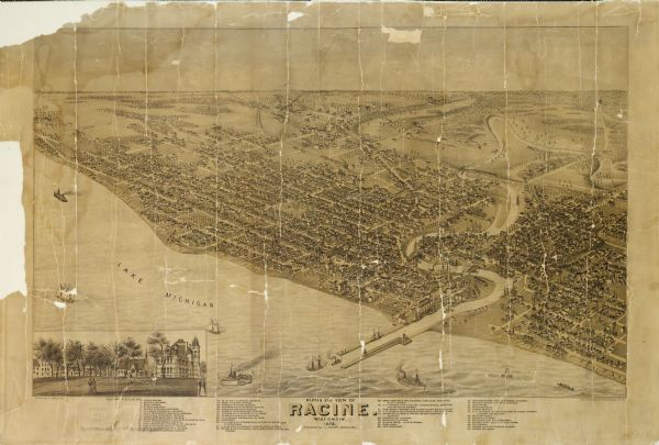 Bird's-eye map of Racine, with an inset of Racine College.