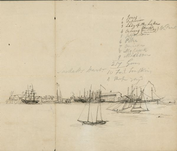 Labeled drawing of Sackets Harbor, NY. War of 1812.