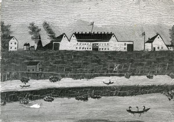 Painting of Fort Crawford on the panel of an oak door.