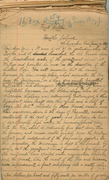 First page of the Reuben Gold Thwaites' handwritten draft manuscript for his book <i>Historic Waterways</i>.