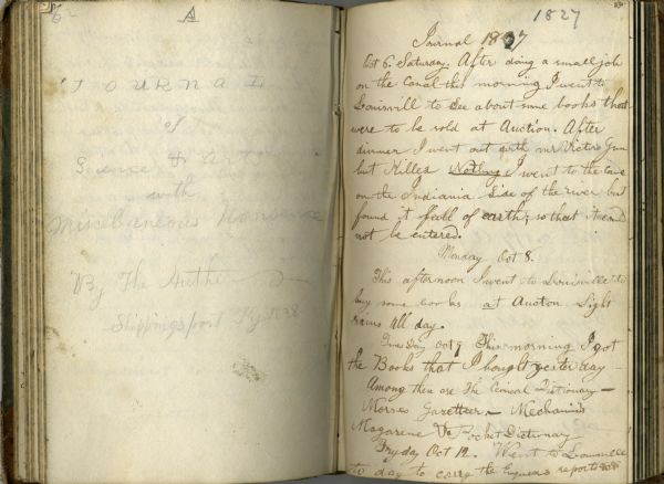 Open spread of Increase Lapham's diary from October 6, 1827 to April 18, 1828.