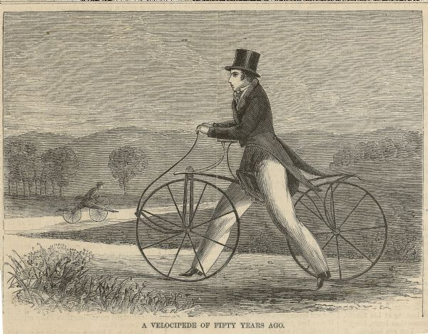 Engraved image of a man in a top hat and tails riding a velocipede. Another rider can be seen in the background.