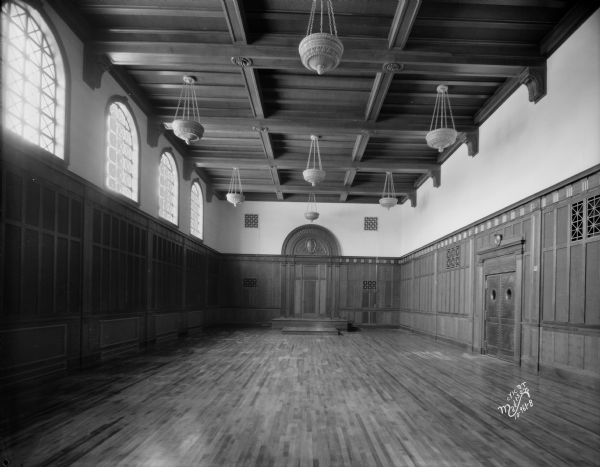 United States District Court. Interior view of the unfurnished courtroom in the new Post Office building, 215 Monona Avenue.