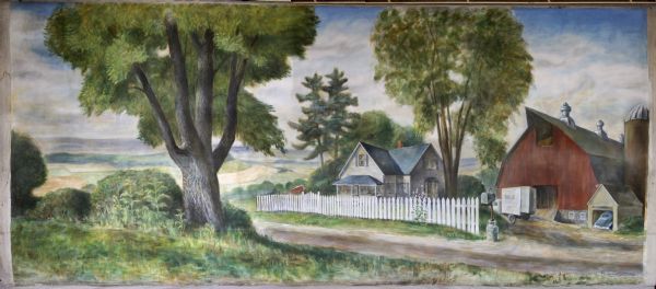 A painting of a dairy farm, which was part of the State Fair Centennial mural.