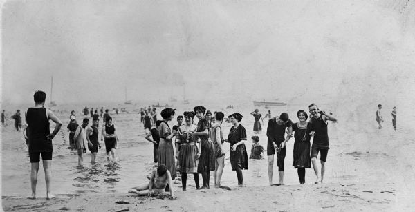Popular bathing beaches like this one on Lake Michigan offered relief from the heat as well as the opportunity to be seen in the latest fashions of the 1910s.