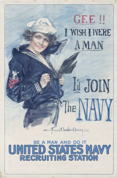 United States Navy recruitment poster. Depicts a woman in a naval uniform.