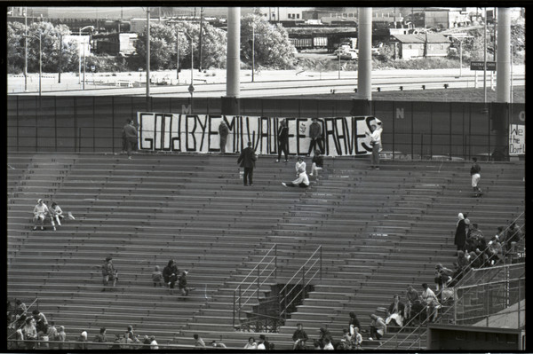 Goodbye Milwaukee Braves Banner | Photograph | Wisconsin Historical Society