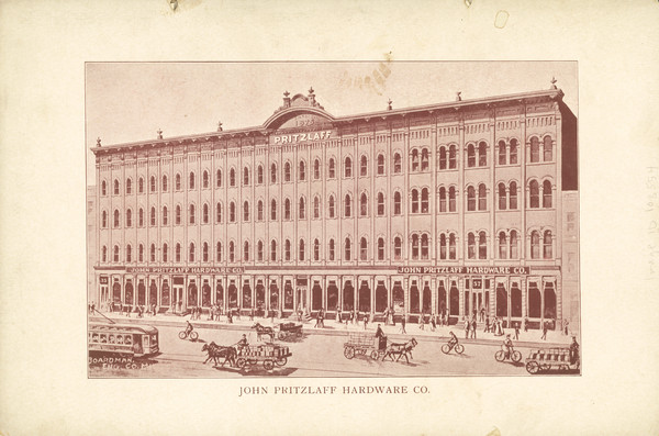 The facade of the John Pritzlaff Hardware Co., on the back cover of the Old Settlers' Club Banquet Menu.