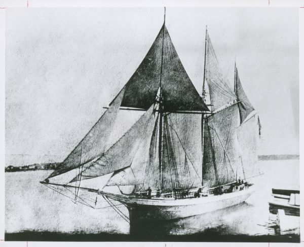 An illustration of the schooner <i>Rouse Simmons</i> on the water near a shoreline.