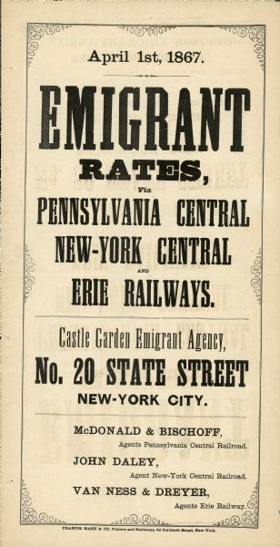 Castle Garden Emigrant Agency poster advertising railroad travel rates for emigrants.