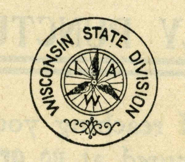 "Logo of the Wisconsin State Division of League of American Wheelmen consisting of the letters L, A, and W and 3 wings on a spoked wheel surrounded by a circle with ""Wisconsin State Division"" written in it."