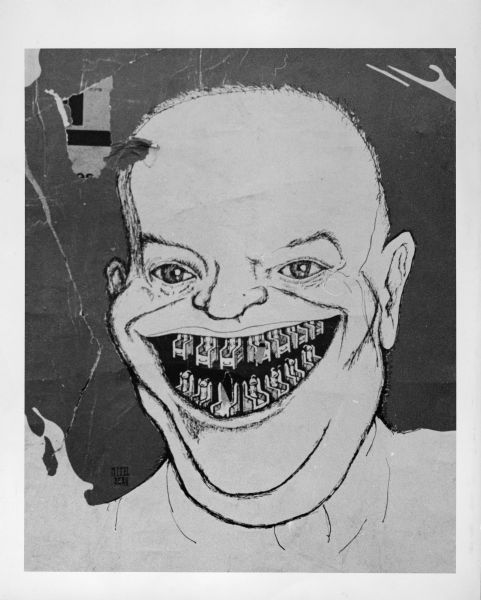 Cartoon of Dwight D. Eisenhower with electric chairs for teeth. The image is very likely in reference to the Rosenberg spy case.