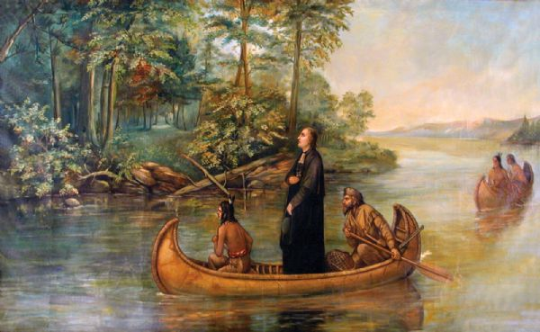 Painted scene of an Indian guide paddling, Jacques Marquette, a Jesuit missionary standing, and Louis Joliet, a fur trader paddling, in a canoe exploring the Upper Mississippi River. Two men in another canoe follow behind.