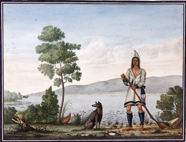 Watercolor of Canadian Prairie Indian at lake's shore with gun in hand and a recently hunted duck on the ground. A dog is at his feet. On the far shoreline is a settlement at the base of hills.