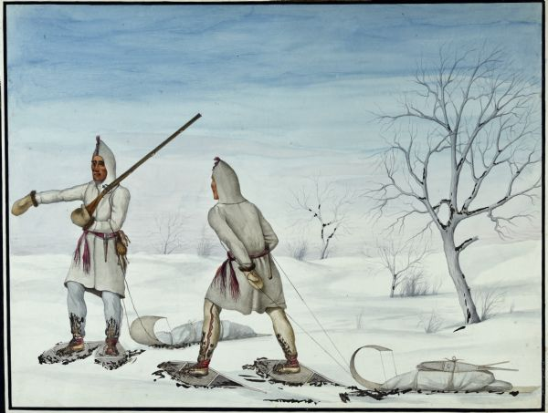 Canadian Prairie Indians on Snowshoes.