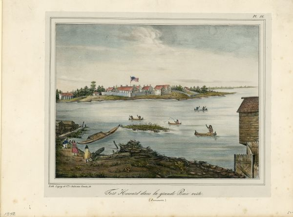This hand-colored lithograph of the second Fort Howard, with Indians canoeing on the Fox River, shows the hospital built 1834-1835 outside the stockade on the left.
