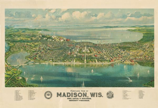 Colored map showing a panoramic view of Madison in great detail. The Wisconsin State Capitol is located at the center, with Lake Mendota in the background and Lake Monona in the foreground. The key beneath identifies 20 University buildings, 15 public buildings by type including 15 public schools, 20 churches, rivers, lakes, public attraction areas, and railroad lines by company.